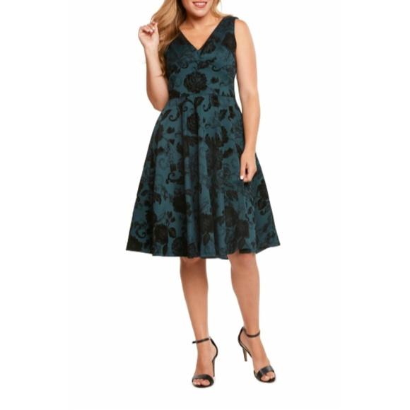 Eva Rose Dresses & Skirts - Pine Flocked Swing Dress